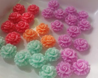 Set of 31 cabochon flower