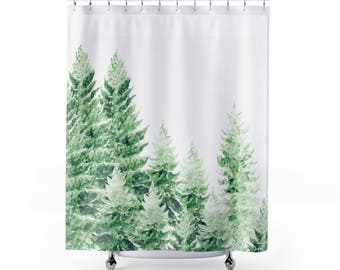 Pine Tree Shower Curtain, forest shower curtain, tree shower curtain, pine tree curtain, forest curtain, green shower curtain