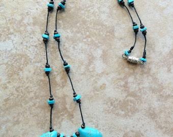 Turquoise Stone Boho Pendant, Wooden Beads Necklace, Turquoise Necklace, Knotted Necklace, Bohemian Necklace, Stone Necklace, Rustic