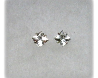 4mm White Topaz Gemstones in 925 Sterling Silver Stud Earrings December Birthstone