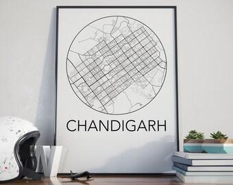 Chandigarh, India Minimalist City Map Print