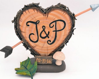 Rustic Wedding Cake Topper - Personalized  Cake Topper - Keepsake Wedding Cake Topper, Letter J & P