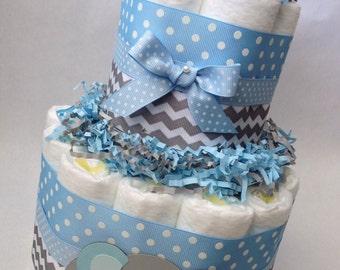 Chevron Elephant Diaper Cake/2 tier/Diaper Cake/Diaper Cakes/Blue and Gray Diaper Cake/Unique Diaper Cake/Baby Shower Centerpiece