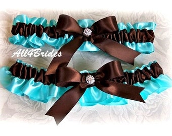 Weddings Bridal garters chocolate brown and aqua blue, something blue bridal accessories