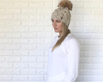 Chunky Knit Cable Slouchy Hat with  Brown Fur Pom | beige/tan Oatmeal | THE TRECCIA