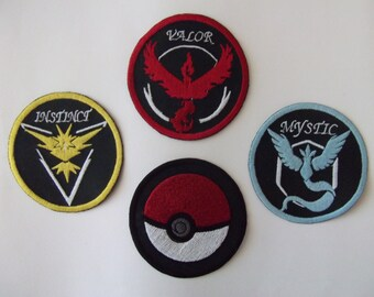 Pokemon Team Valor, Instinct  , Mystic patches - Large sew on patches-