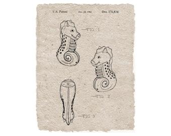 Nautical Seahorse Toy Patent Print