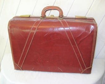 Vintage leather suitcase, large oxblood luggage, mid century, 50s 60s, Masterbilt, made in USA, burgundy hard suitcase, JH