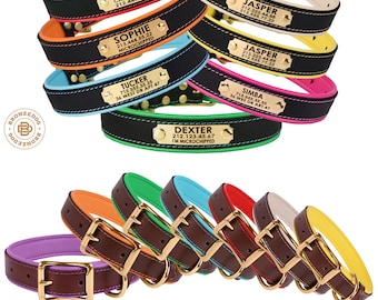 Personalized Dog Collar Leather Custom Engraved ID Tag Nameplate Brass Soft Padded Girl Boy Collars for Dogs