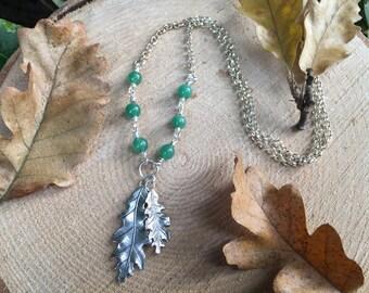 Silver Oak Leaf Green Aventurine Necklace