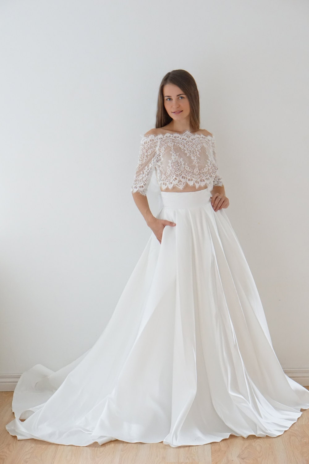 Crop Top wedding dress satin wedding dress lace top lace