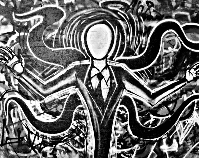 Graffiti Slender Man B&W