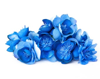 10 Wild and Whimsy Rose Blossoms in Blue - Silk Flowers, Artificial Flowers - ITEM 01089