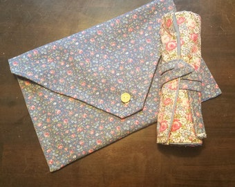 Matching Envelope Toiletries bag and Makeup Roll
