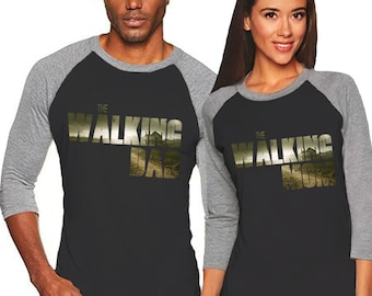 The Walking Dad or The Walking Mom - Unisex Tri-Blend 3/4 Sleeve Raglan Baseball T-Shirt - Sizes XS-3XL in 14 Colors!