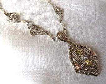 SALE Antique Vintage Gold Diamond Pendant 1920s Antique Art Deco Necklace,Detailed White Rose Gold Filigree Pendant,Estate Vintage Necklace