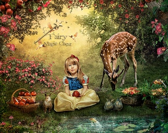 Snow White digital background, fairy tale forest, with pond, animals, flowers and fruits, backdrop, prop for fantasy photography