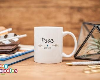 Gift for New Papa, Papa Est 2017, Papa Coffee Mug, Baby Shower Gift, Papa Mug, Gift for Papa , Pregnancy Reveal, Papa Gift, New Papa, 188