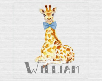 """Giraffe and Elephant Personalized Canvas Prints  - 12"""" x 12"""""""