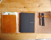 """Leather Travel Notebook Sketchbook or Journal Cover - The """"Emeli"""" Model"""