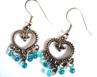 Heart shaped with drops earrings