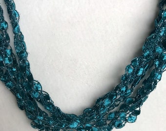 NEW! Teal Lagoon - Hand Crocheted Necklace