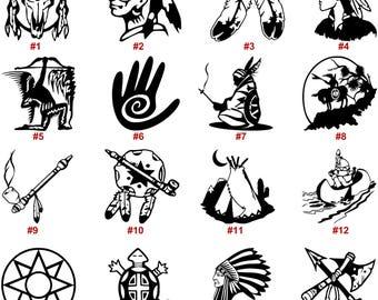 Native American Vinyl Decal Sticker Car Window Wall Laptop Spirit Indian Symbols