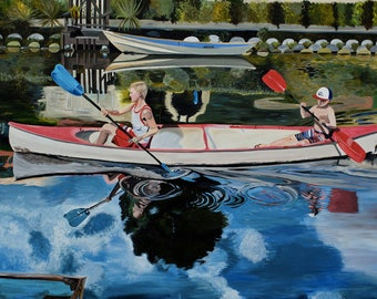 Rowing in Venice, rowing, Los Angeles, Boys, Boat, Kayak, Venice Beach Canals, Indian Canoe, Water