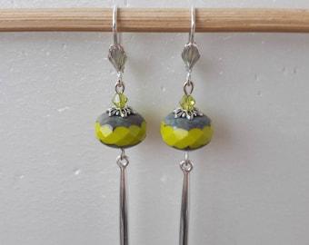 Green Teardrop Czech glass Pearl Earrings silver
