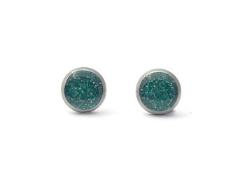 Teal Aqua Glitter, Shimmering Earrings, Stainless Steel Stud, Glittered Jewelry, Sparkle Studs, Stylish Resin Stud, Gift for Her, 10mm studs