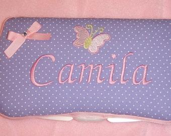 Personalized Baby Girl Purple Pink Butterfly Wipe Case