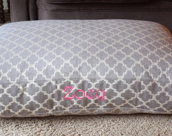 Geometric Dog Bed || Large River Rock Grey Trellis Fabric || Add Pets Name Personalize Custom Pillow Cover Dog Gift Three Spoiled Dogs