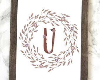 Monogram Letter U Printable, Floral Monogram Letter U Printable, Letter U Wall Art, Letter U Printable, Monogram Printable, Initial Print