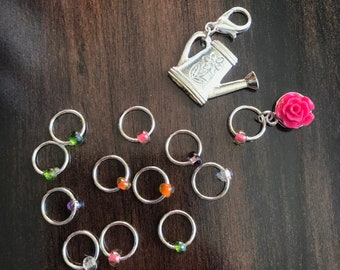 Silver Rose Garden Ring Stitch Marker Set, Progress Keeper, ring markers, notions, knitting, knitter gift, Clip on Charm, Blossom, sun,