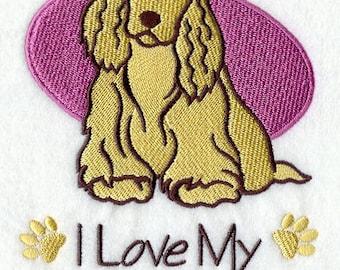 I Love My Cocker Spaniel Embroidered Flour Sack Hand/Dish Towel