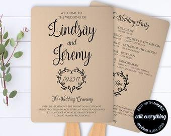 Vintage Heart Printable Wedding Program Template - Kraft Paper Wedding Program Fan - Rustic Wedding Fan - Fan Program - Printable Program