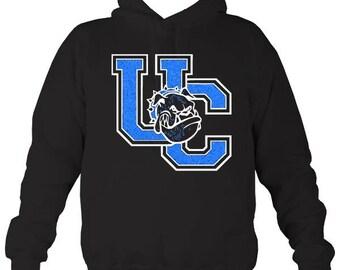 Union College 'UC' Blue & Black Contrast Hoodie