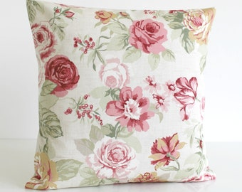 Shabby Chic Decorative Pillow Cover, Floral Cushion Cover, 16x16, 18x18, 20x20, Pillow Sham, Pillowcase, Toss Pillow - Country Flowers Sage