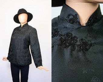 Vintage Black Mandarin Collar Jacket Asian Chinese Jacket