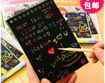 Black scratch card Rainbow Card magic black craft card Scratch note Paper Crafts card Scratch Paper black card kids picture drawing book T-1