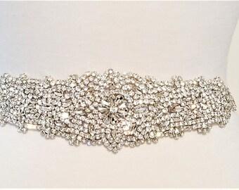 Bridesmaid Bridal Sash Belt - Crystal Wedding Sash Belt = 12 1/2 inch long Beaded Part