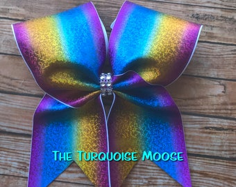 Rainbow Cheer Bow, Cheer Bow, Rainbow Hair Bow, Cheerleading Bow