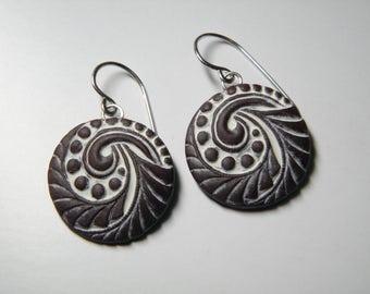 Vintage Button Design Polymer Clay Earrings- dangle disk earrings-eco earrings