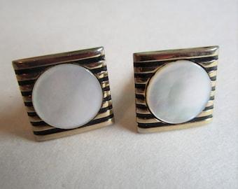 Mother of Pearl 70s Cuff Links SWANK Black Enamel Stripe Gold Tone Mens Vintage 1970s Cuff Links