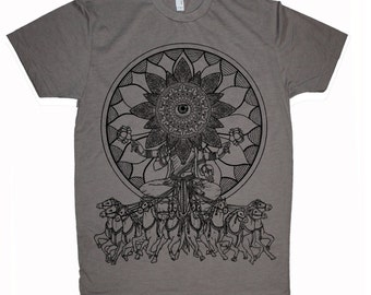 Men's Psychedelic SEER Mandala Eye Tee Sacred Geometry Hand Screen Printed T-Shirt