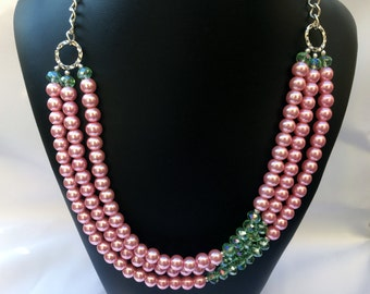 Sharen - Pink pearl necklace, Pink Green Necklace, Layered Necklace, Pearl Necklace,  Pink Green Beaded Necklace, Pink necklace