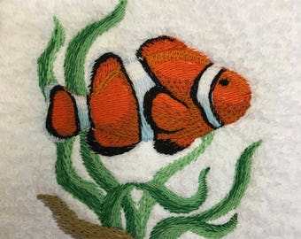 Hand Towel - Embroidered Clown Fish