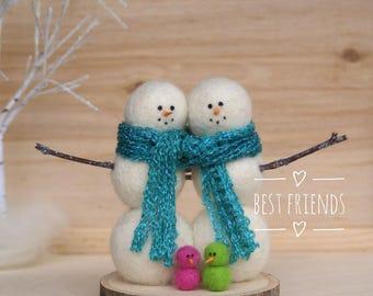 Best Friend Snowmen, Needle felted snowmen, colorful snowman, wool felt snowmen, best friend gift, needle felted birds, sister gift