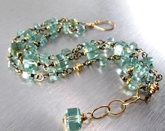 20% Off Sea Green Quartz Multi Strand  Mixed Metal Bracelet