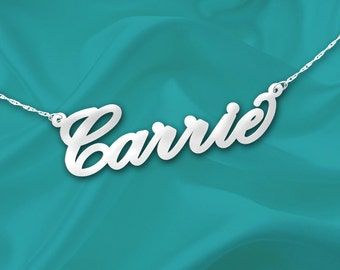 Silver Name Necklace Carrie - Sterling Silver Handcrafted - Personalized Name Necklace - Made in USA